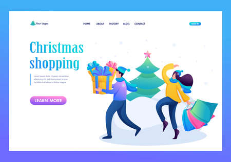 Young people are engaged in buying Christmas gifts, winter entertainment. Flat 2D character. Landing page concepts and web design. Иллюстрация