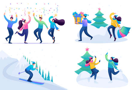 Set 2D Flat concepts Young people have a rest in Christmas holidays, winter entertainments. For Concept for web design.