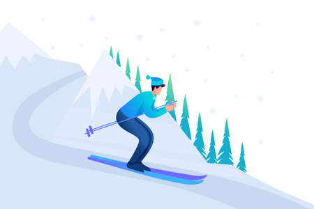 Young man skiing in Christmas vacation, winter fun. Flat 2D character. Concept for web design.