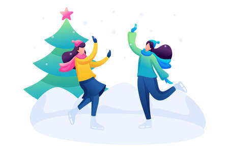 Young girls have fun at the rink, skating, winter entertainment. Flat 2D character. Concept for web design. Иллюстрация