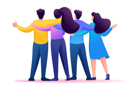 Meeting friends, friends are standing in an embrace, joy, friendship. Flat 2D character. Concept for web design. Vettoriali