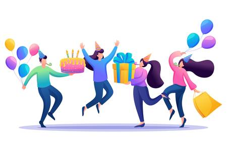 Celebrate the birthday in a circle of best friends, friendship. Flat 2D character. Concept for web design.