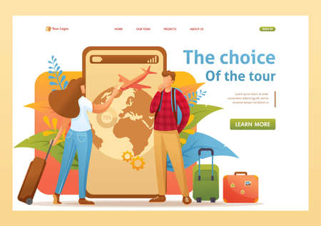 Young people plan their trip on vacation, choose the direction. Flat 2D character. Landing page concepts and web design.