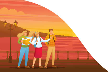 Evening walk of tourists along the beautiful promenade during sunset. Flat 2D character. Concept for web design. Imagens - 134772529