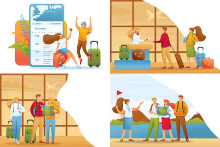 Set 2D Flat concepts tourists on vacation and at the airport. For Concept for web design. Иллюстрация