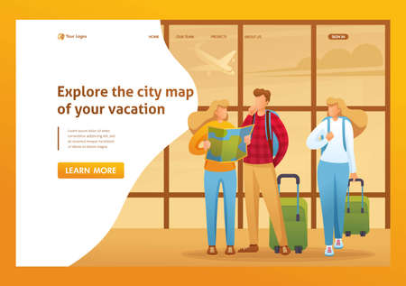 Explore the city map of your holiday, tourists explore the map at the airport. Flat 2D character. Landing page concepts and web design. Иллюстрация