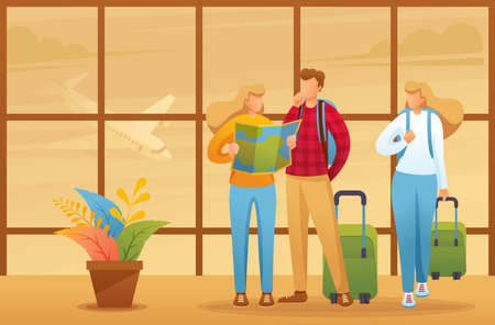 Explore the city map of your holiday, tourists explore the map at the airport. Flat 2D character. Illustration concept for animation and web design. Иллюстрация
