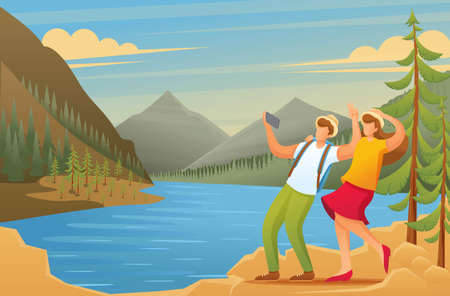 Tourists explore the beauty of nature, vacationers are photographed in the woods. Flat 2D character. Illustration concept for animation and web design.