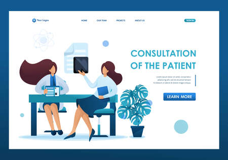 Young woman doctor advises the patient. Health care concept. Flat 2D character. Landing page concepts and web design.