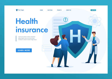 Young doctor offers health insurance to the couple. Flat 2D character. Landing page concepts and web design.
