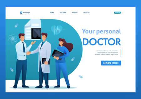 Doctor communicates with the patient. Health care concept. Flat 2D character. Landing page concepts and web design.