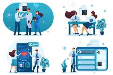 Set 2D Flat concepts digital health, electronic card, consultation patient. For Concept for web design.