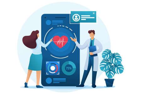 医師は、健康を維持するためにアプリケーションを使用する方法を患者に示しています。フラットな 2D 文字。Web デザインのコンセプト。 ベクターイラストレーション