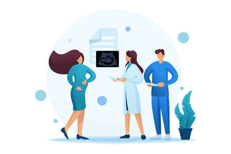 Examination of pregnant women, study of ultrasound results, doctors consultation. Flat 2D character. Concept for web design.