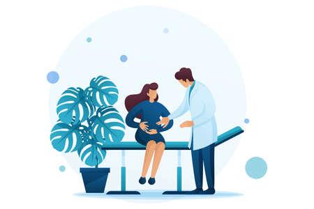 Gynäkologe untersucht eine schwangere Frau, Schwangerschaftsüberwachung. Flacher 2D-Charakter. Konzept für Webdesign.