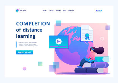 Girl graduated from distance learning, receives a diploma. Flat 2D character. Landing page concepts and web design.
