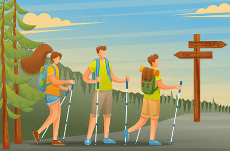 Young people actively spend holidays, Nordic walking in the woods. Vector illustration. Flat 2D character.