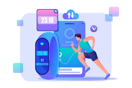Man runs using a fitness bracelet and tracks his workouts. Flat 2D character. Concept for web design.