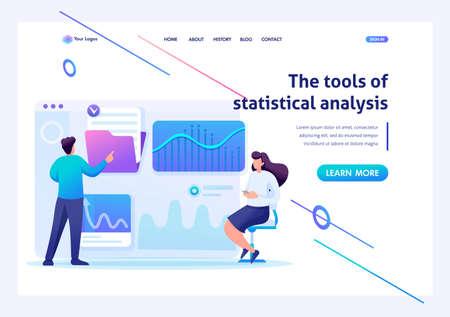 Young entrepreneurs testing statistical analysis tools on a tablet. Flat 2D character. Landing page concepts and web design. Vektoros illusztráció