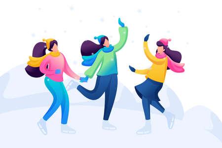 Girlfriends skate, have fun, rejoice, laugh, friendship. Flat 2D character. Concept for web design.