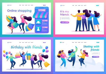 Set 2D Flat concepts Young people have fun and rejoice, friendship. For Landing page concepts and web design.