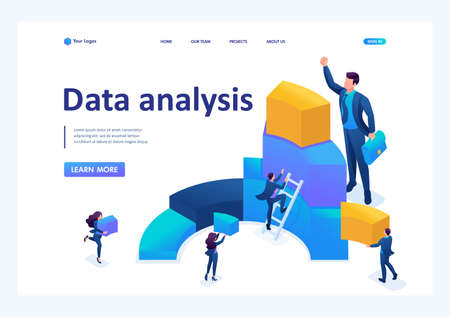 Isometric Data for analysis, creating charts, businessmen carry information. Landing page concepts and web design.