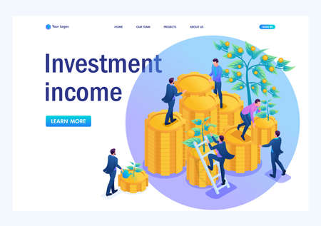 Isometric Income from investments, businessmen collect profits and reinvest money. Landing page concepts and web design.