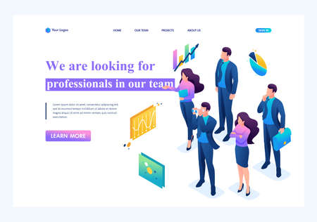 Isometric We are looking for professionals for our team, recruiting concept. Landing page concepts and web design.