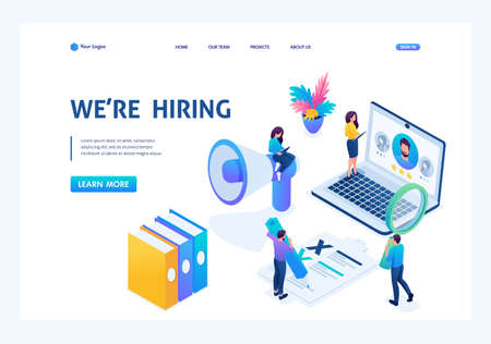 Isometric HR Manager, we hire employees to our company, recruiting concept. Landing page concepts and web design.