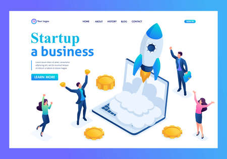 Isometric business startup, businessmen rejoice rocket take-off from laptop. Landing page concepts and web design.