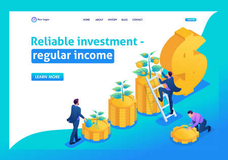 Isometric Conceptual save and increase investment, capital, income growth. Landing page concepts and web design. Illustration