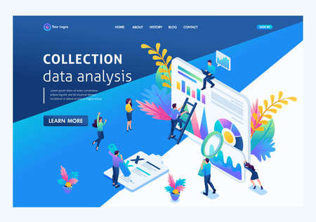 Isometric concept young entrepreneurs, data collection, data analysis. Landing page concepts and web design.