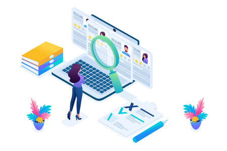 Isometric HR Manager, recruiting manager reviews the resume options on the site, bright color. Concept for web design.