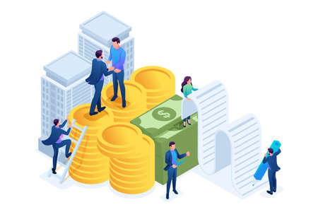 Isometric Bank employees draw up a mortgage loan, businessmen. Concept for web design.