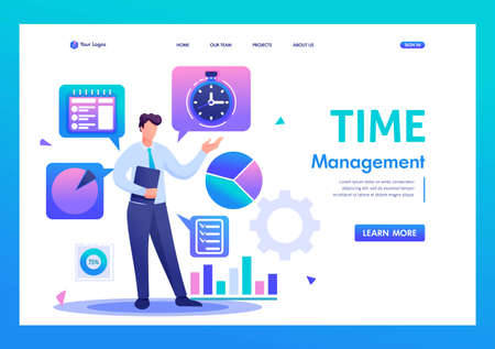 Young businessman is engaged in time management. Flat 2D character. Landing page concepts and web design.