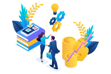 Isometric business financial cooperation between the investor and the creative team. Concept for web design.