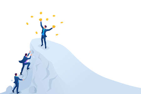 Isometric Achieve success, to achieve the goal, to be on top of the mountain. Concept for web design.