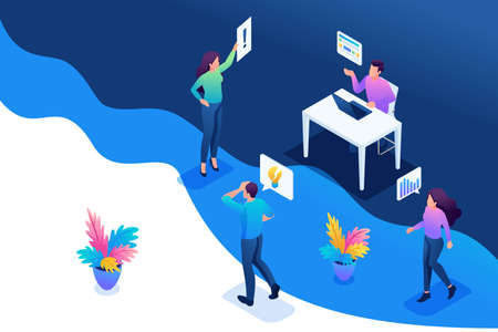Isometric concept optimization of business processes in the office. Concept for web design.