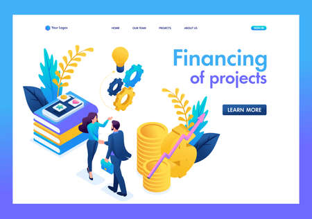 Isometric business financial cooperation between the investor and the creative team. Landing page concepts and web design.