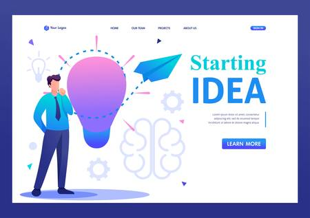 Young man launches a business idea, a business startup. Flat 2D character. Landing page concepts and web design.