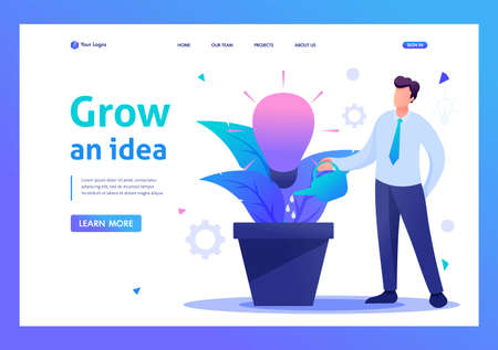 Young man is watering a pot with a growing business idea, startup. Flat 2D character. Landing page concepts and web design. Illustration