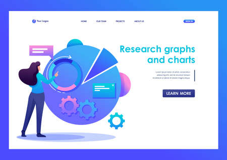 Woman character with graph Research and charts. Flat 2D character. Landing page concepts and web design.