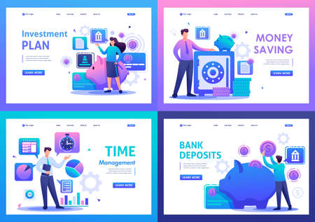 Set Flat 2D concepts bank deposits, investment plan, time management. For Landing page concepts and web design.