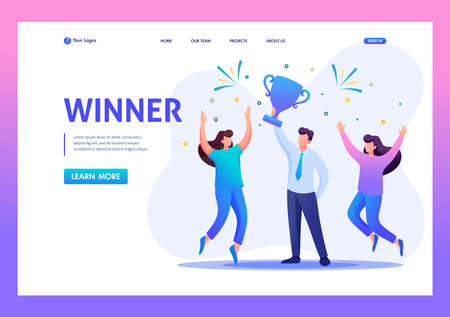 Successful businessman celebrating a victory, teamwork. Flat 2D character. Landing page concepts and web design.