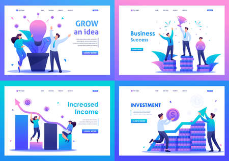 Set Flat 2D concepts increased income, business success, Investment. For Landing page concepts and web design.