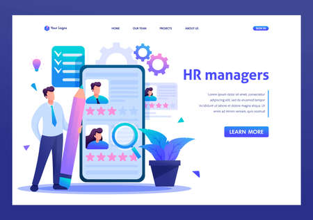 Young successful HR Manager, resume review. Flat 2D character. Landing page concepts and web design.
