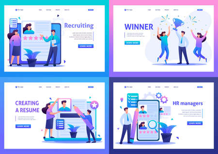 Set Flat 2D concepts HR managers, Recruiting, Creating a resume. For Landing page concepts and web design.