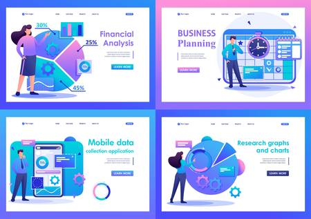 Set Flat 2D concepts financial analysis, data collection application, business planning. For Landing page concepts and web design.
