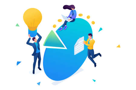 Young entrepreneurs work with charts and profit diagrams. 3D isometric. Concept for web design. Illustration