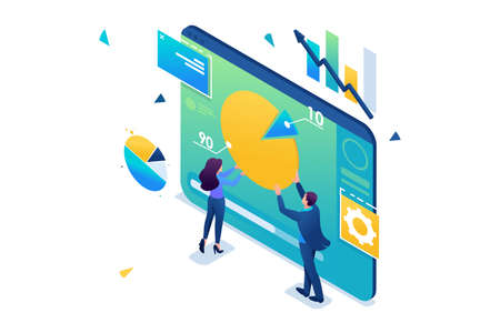 Young entrepreneurs are working with a chart on a tablet. Data Analytics. 3D isometric. Concept for web design. Illustration